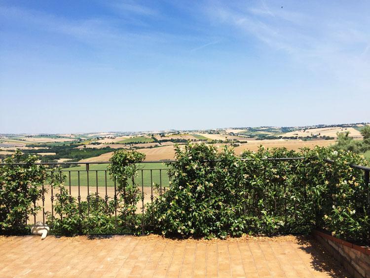 Veduta delle colline marchigiane da Villa Claire ad Appignano